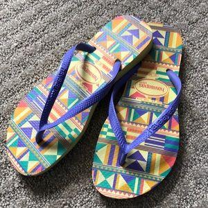 Haviana Slims Boho Print Flip Flops